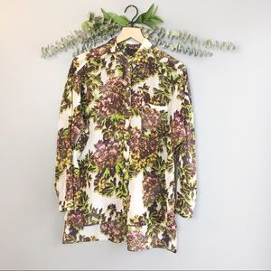 Topshop sheer button down floral high low blouse